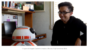 17-year-old Filipino student creates a working life-size BB-8 from household materials